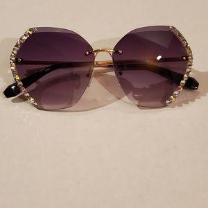 Women's Rimless Rhinestone Sunglasses